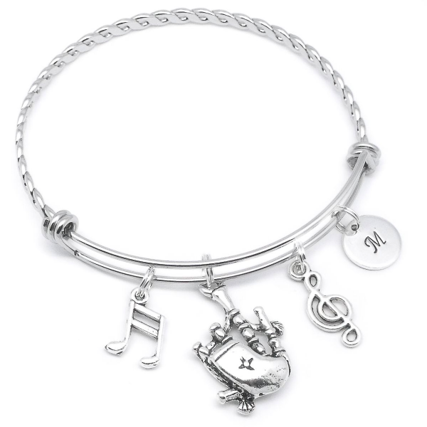 Bagpipes bracelet jewellery gift personalised intial